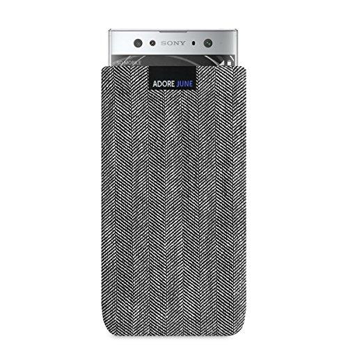 Adore June Business Tasche passend für Sony Xperia XA2 Ultra Handytasche aus charakteristischem Fischgrat Stoff - Grau/Schwarz | Schutztasche Zubehör mit Bildschirm Reinigungs-Effekt | Made in Europe