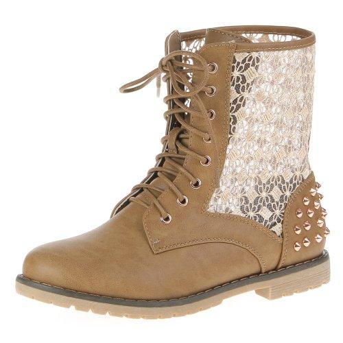 Damen Schuhe, FD3-40, STIEFELETTEN Hellbraun