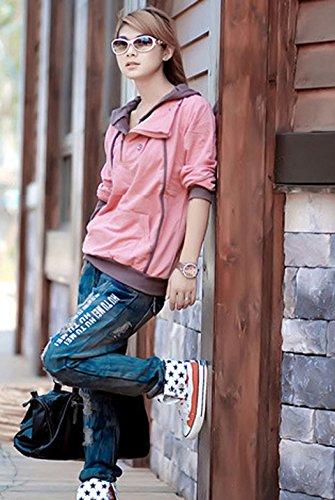 Automne Hiver Femme Décontractée Hooded Mode Imprimé Sweats à Capuche à Manches Longues Encapuchonné Sweatshirt Chemisiers Tops Rose
