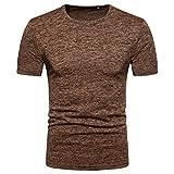 Angebote,Neue Deals,Herren T-Shirt Ronamick Männer Sommer Rundhals-Pullover-T-Shirt Slim Fit Basic Shirt (KAFFEE, M)