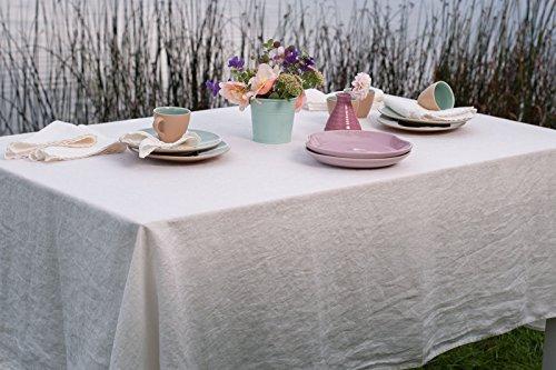 Lin Mode : Nappe 100% lin Blanc délavé, ± 168cm x 250cm (66\