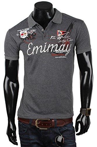 EMIMAY Herren Poloshirt T-Shirt Hemd Party Slim Fit Original Premium Anthrazit
