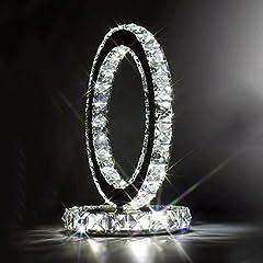 Idea Regalo - WSHFOR Lampada da tavolo in cristallo in acciaio inox lampada da comodino in stile moderno Lampada a cristallo di cristallo alla moda della sala da pranzo creativa semplice doppio (luce bianca)