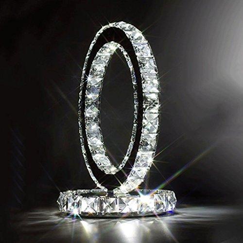WSHFOR Mode en acier inoxydable lampe en lampe de table en lampe de chevet style moderne Créative chambre simple salon à la mode cristal lampe à cristaux liquides à double face (lumière blanche)