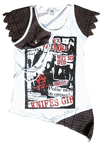 Emo-rock-shirt (Rockabilly Punk Rock Baby Damen Tank T-Shirt Weiss Schotten Muster Fein Emo Boho Desinger Fashion M 38)