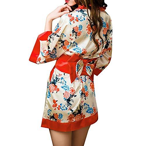 HongH Damen Kimono Sakura Floral Print Kurz Cosplay Traditionelle japanische Haori-Nachtwäsche Loungewear Dessous Robes - Rot - - Florale Geisha Kostüm