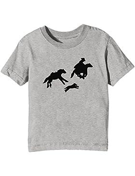 Caballos Niños Unisexo Niño Niña Camiseta Cuello Redondo Gris Manga Corta Todos Los Tamaños Kids Unisex Boys Girls...