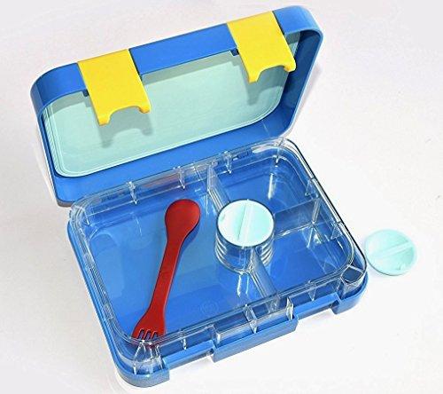 Ahoea Bento-Lunchboxen mit 4 Fächern, mikrowellengeeignet, auslaufsicher, für Jugendliche, Mädchen, Jungen blau Große Mittagessen-tasche Mit Fächern