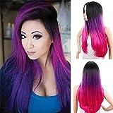 royalvirgin Synthetik ombre Perücken Lang Gewellt Frauen Hair Extensions 66cm 300g schwarz grau lila pink braun farbigen Cosplay Perücken