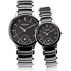 binlun Paare Pairing Wolfram Stahl Uhr mit Datejust setzt für Frau und Mann 2,6cm 3,8cm schwarz
