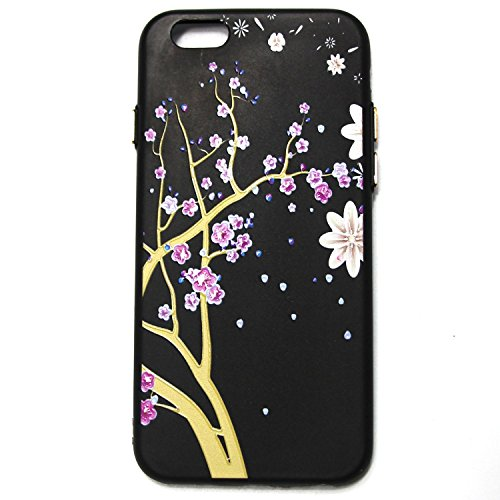 invei iPhone 6 Handyhülle,iPhone 6S Flip Case,Bunte Muster Design/Ledertasche Schutzhülle Leder Huelle Stand Magnetverschluss -Mandala Blumenmuster Lila Pflaumenblüten-Design