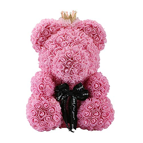 SODIAL 40 cm Teddyb?r Mit Krone In Geschenkbox B?r Von Rosen Künstliche Blume Neujahrsgeschenke Für Frauen Valentines Geschenk Rosa (Valentines Rose Künstliche)