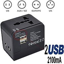 TBS®2301 Adaptador universal de corriente (US / EU / UK / AU) y dos puertos USB de alta potencia (5V 2.1A) para cargar tablet PC, smartphones, cámaras digitales, reproductores de MP3 - Enchufes compatibles en más de 150 países - Interruptor de seguridad