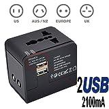 TBS2301 Adaptateur/Chargeur Universel de Voyage avec 2 prises USB (5V 2.1A), Adaptateur chargeur de voyage tout-en-un multi-prise EU/US/UK/AU