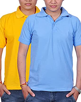 Combo Pack Of 2 Gdivine Men's Cotton Tshirt (Yellow & Light Blue)