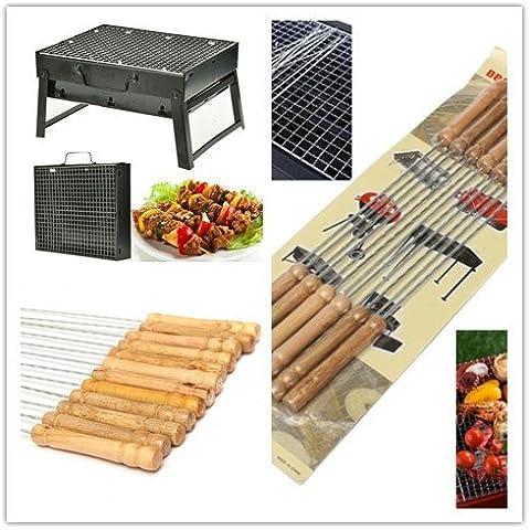 Portátil Barbacoa Parrilla Barbacoa de carbón tablero de la mesa Barbacoa de carbón Collapsibl Set para Camping al aire libre jardín, Charcoal Barbecue +skewers