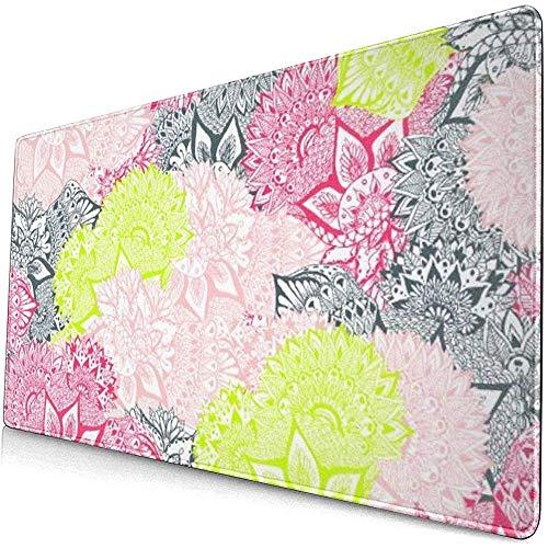 Mauspad, rutschfestes, wasserdichtes Mousepad auf Gummibasis für Laptop-Bright Neon Yellow Henna Floral Paisley LMP-2531