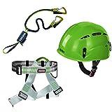 Alpidex Casco per arrampicata ARGALI Apple Green + Alpidex Imbracatura TRAD TAIPAN + Edelrid Set da...