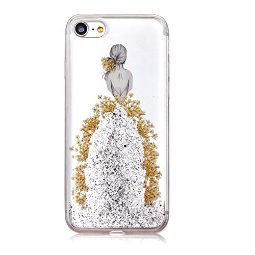 SKYXD Cover Sottile per iPhone 6/6S,Crystal Clear Gel TPU Custodia con Brillantini Bling Glitter Slim Silicone Morbida Luminosa Trasparente Argento Gonna Custodia Cellulare per Apple iPhone 6S/6 4.7 C Argento Gonna Ragazza