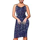 iYmitz Damen Bodycon Kleid Schlinge Club Ärmellos FaltenrockBrautjungfernAbendkleid Mit Pailletten Flapper Partykleider Minikleid (Blau,EU-34/CN-M)