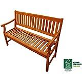 SAM® Banco de madera de acacia, banco para el jardín para 2 personas, con apoyabrazos de madera maciza, ideal para jardines, patios, terrazas y balcones, certificado FSC® 100%