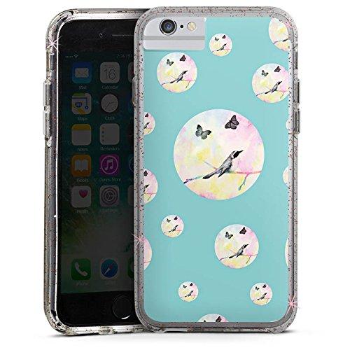 Apple iPhone X Bumper Hülle Bumper Case Glitzer Hülle Bird Vogel Schmetterling Bumper Case Glitzer rose gold