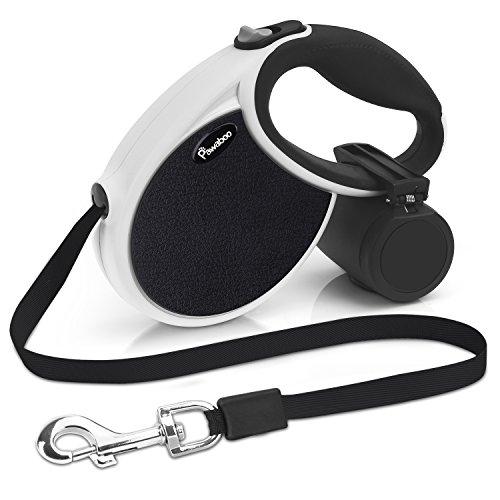 Pawaboo Rolleine, 5M ausziehbar Hundeleine Hund Trainingsleine Halsband mit Mülleimer, mit Lock in Technik für Laufen, Wandern, Groß, Weiß/Schwarz