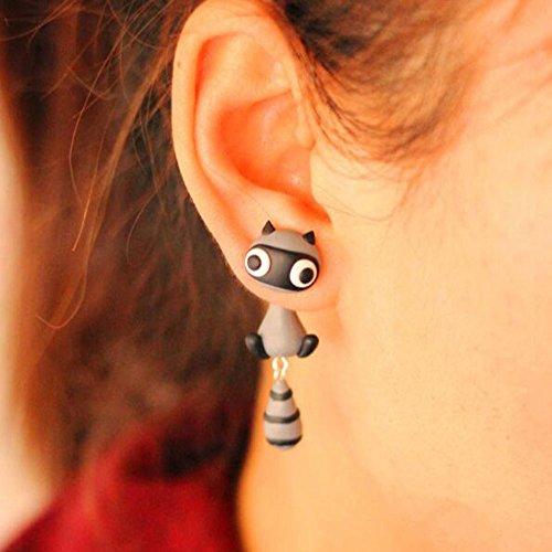 BigNoseDeer Waschbär Frauen-Bolzen-Ohrringschmucksachen, handgemachter Ohrring für Mensmädchen Kinder-Schwarzes (Waschbär)