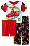 Disney Boys' Toddler Cars 3-Piece Pajama Set, Racecar Red, 2T