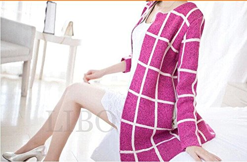Gaorui Fashion femme-plaid Polaire épaisse Veste Cardigan à manches longues noir foncé