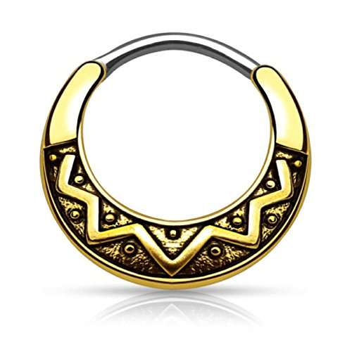Piercingfaktor Universal Piercing Septum auch für Tragus Helix Ohr Nase Lippe Brust Intim - Schild Clicker Ring Tribal Gold 1,2mm
