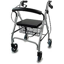 Mobiclinic Andador para Ancianos de 4 Ruedas   Rollator Deluxe Plegable   Regulable en Altura  