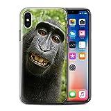 Stuff4 Coque Gel TPU de Coque pour Apple iPhone X/10 / Selfie Babouin Design/Animal Drôle Meme Collection