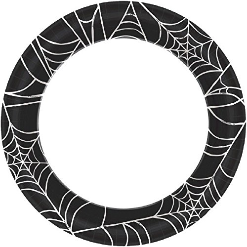 een Party Spider Web Round Dessert Paper Plates Tableware, Black/White, 6 3/4 ()