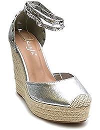 84fc95aadae022 Jumex Damen Riemchen Sandaletten Pumps Keilabsatz Keilpumps High Heels Peep  Toes Schuhe Ka
