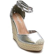 Jumex Damen Riemchen Sandaletten Pumps Keilabsatz Keilpumps High Heels Peep  Toes Schuhe Ka 0f6a565fff