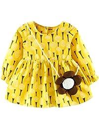 Ropa bebé Amlaiworld Bebé Chicas Flor Manga larga Vestidos de princesa (6-12 Mes, Amarillo)