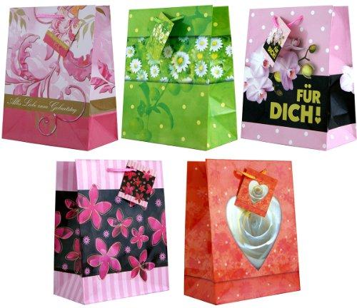 10 Geschenktüten zum Geburtstag Blumen M 23x18x10 Geschenktaschen Papier-Tragetasche 99-9019