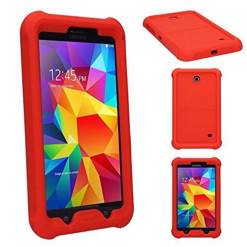 e für Samsung Galaxy Tab 4 7,0 (SM-T230 SM-T231 SM-T235), [Kinderfreundlich] Leichtes Koffer Silikon Soft Shell Anti-Rutsch-Shockproof verstärkte Ecken + Displayschutzfolie. Rot ()
