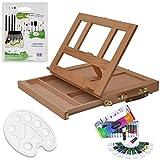 Artina Set di pittura con cavalletto da tavolo in valigetta Colmar e colori acrilici, pennelli e tavolozza pittorica