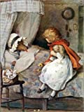 Posterlounge Leinwandbild 120 x 160 cm: Rotkäppchen und der Wolf von William Henry Margetson/Bridgeman Images - fertiges Wandbild, Bild auf Keilrahmen, Fertigbild auf Echter Leinwand, Leinwanddruck