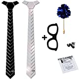 #3: COCO CHANEL Reversible Matte Black & Silver HexTie Homme Kit (With Box & Cleaning Wipe)