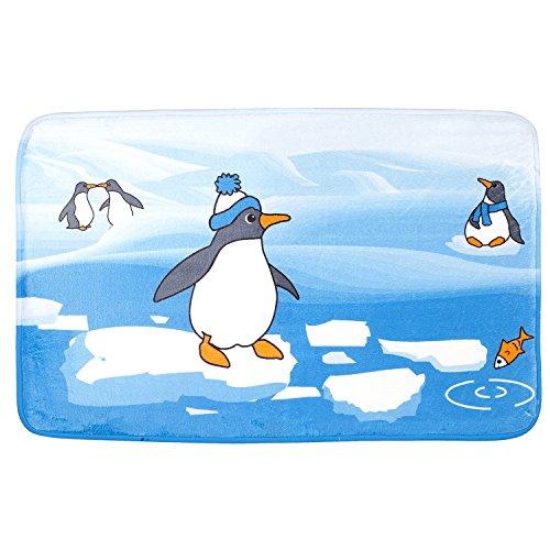 tatkraft-penguins-tapis-de-bain-50-x-80-cm-ultra-doux-microfibre-antiderapant