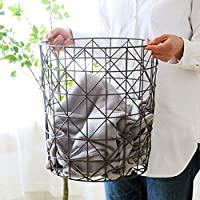 Xinxinchaoshi Laundry Baskets European Style Simple Wrought Iron Dirty Clothes Storage Basket Bedroom Storage Basket Easily Transport Laundry Basket