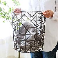 Xinxinchaoshi Laundry Baskets European Style Simple Wrought Iron Dirty Clothes Storage Basket Bedroom Storage Basket Easily Transport Laundry Basket