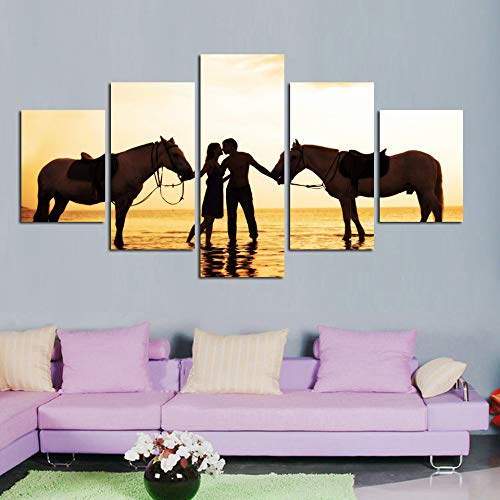 mmwin Quadro su Tela Decorazioni per la casa per Soggiorno 5 Pannelli Una Coppia con Cavalli Poster Modulari HD Prints Pictures Work