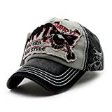 Lamdoo Unisex Herren Bboy Hip Hop verstellbar Baseball Snapback Hat Visier Sport Skull Cap, Baumwollmischung, grau, 54-58 cm