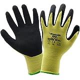 evilandat Wonder agarre guantes de Kevlar corte WG 730seguridad palma de nitrilo EN388certificado nivel 4protección, amarillo