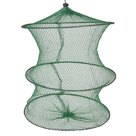 DealMux Angler Fishman Drawstring Mouth 3 Layers Flexible Frame Lobster Fish Basket Fishing Landing