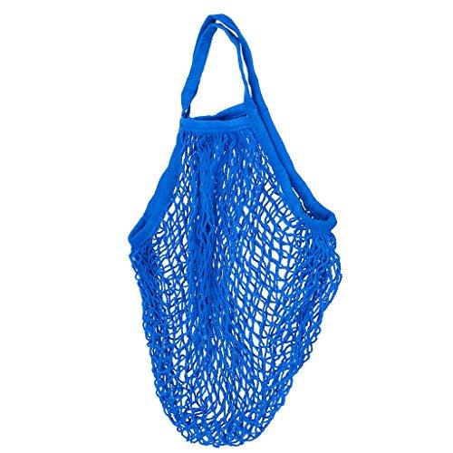 1x Netzbeutel Bio-Baumwollschnur Einkaufen Kurzen Griff Wiederverwendbaren Tasche Blau